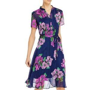 nanette lepore Short Sleeve Floral Tie-Waist Dress